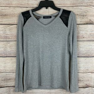 Ivanka Trump Gray Sweater with Lace Shoulders Sz S